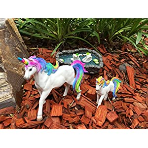 Glitzglam Rainbow Unicorn Set Mother Unicorn Alana And Daughter Unicorn Penelope Miniatures Unicorn Figurines For Your Fairy Garden