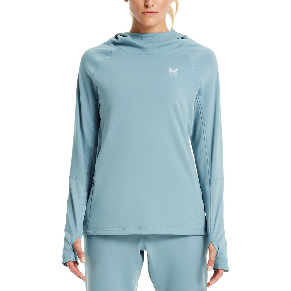 Mission Women's VaporActive Gravity Fleece Pullover Hoodie, Citadel, X-Large