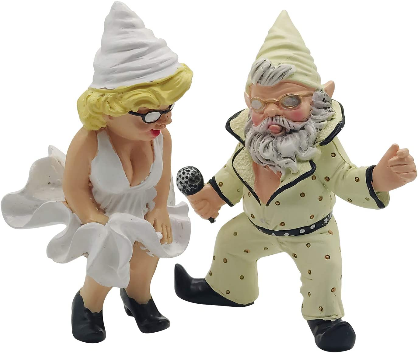 Funny Party Garden Gnome,Garden Gnome Couple in Carnival,Outdoor Lawn Decorations,Gnome Statue for Patio and Yard,Friends Lovers Romantic Statue.