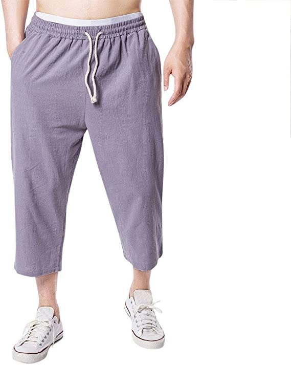 VPASS Pantalones Hombre, Cintura Ajustable por Cordón y Bolsillos ...