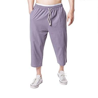 VPASS Pantalones Hombre,Cintura Ajustable por Cordón y ...