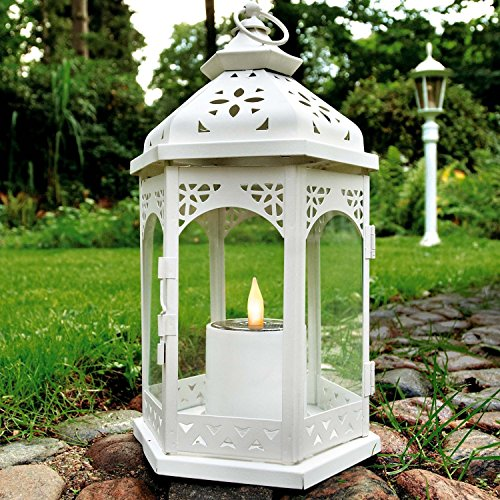 LED Solar Laterne Ramona weiß mit Kerzen-Flackerlicht Solarleuchte Dekolampe