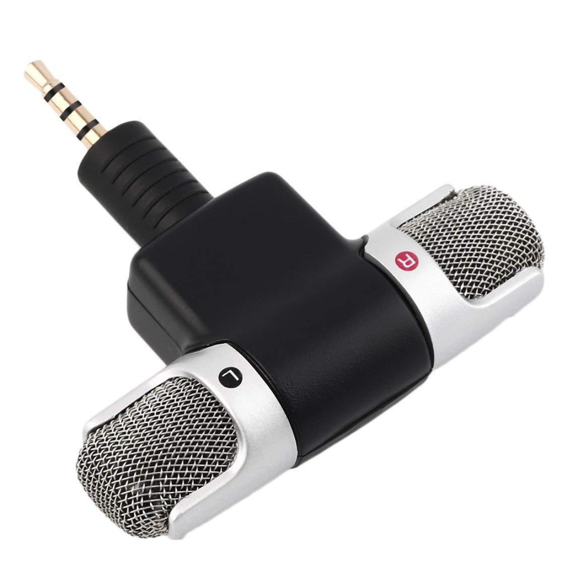 LouiseEvel215 Microfono Stereo Digitale Portatile ad Alta Prestazione Jack da 3,5 mm Mini Microfono Digitale per registratore Cellulare Canta Song Karaoke