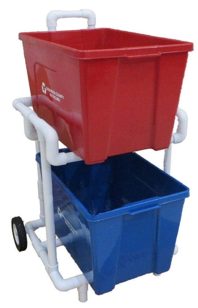 Recycling Cart - Heavy Duty 1'' PVC -Lifetime Warranty - Extremely Strong - Will Not Rust!