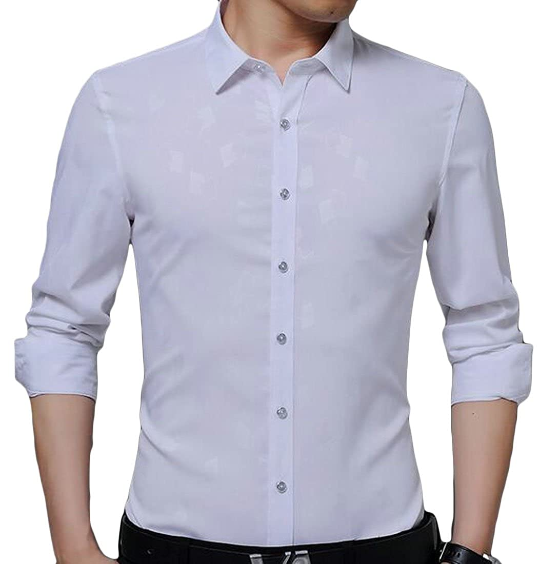 Sweatwater Mens Slim Fit Button up Print Long Sleeve No Iron Casual Dress Shirt