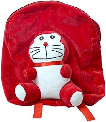 pearl world Polyester 40cm School Bag Orange Duck and Cute Red Mouse (Multicolour) - Pack of 2