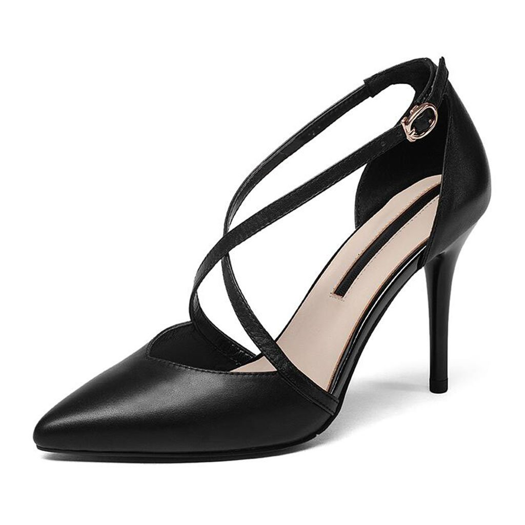 MUMA Pumps Hohle High Heels Spitze Stiletto Sandalen Sexy Baotou Einzelne Schuhe Frau (Farbe   Schwarz größe   EU39 UK6 CN39)