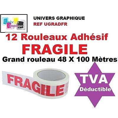 12 Rouleaux Adhésif FRAGILE - 48 X 100 MÈTRES- (40% de plus que les 66 mètres)- rouleau pour emballage, expédition - ruban adhésif de haute qualité idéal pour carton, emballage