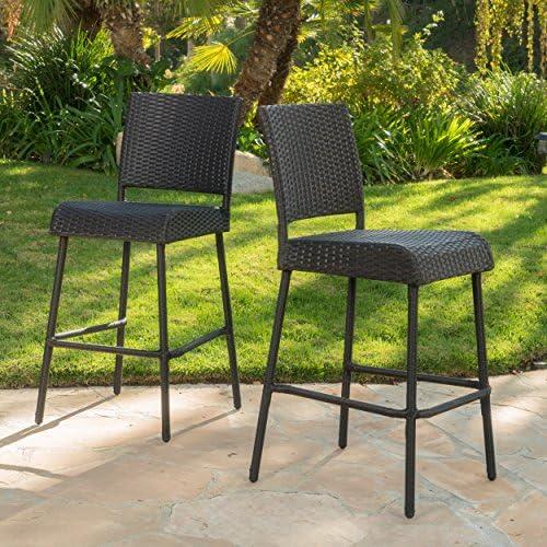 GDF Studio 299525_New Sandy Point Patio Furniture Wicker Outdoor Bar Stool Set of 2 , Dark Brown