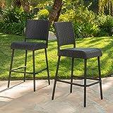 GDF Studio Sandy Point Patio Furniture ~ Wicker Outdoor Bar Stool (Set of 2)
