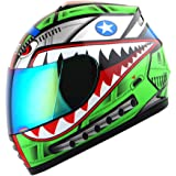WOW Motorcycle Full Face Helmet Street Bike BMX MX Youth Kids Shark Green