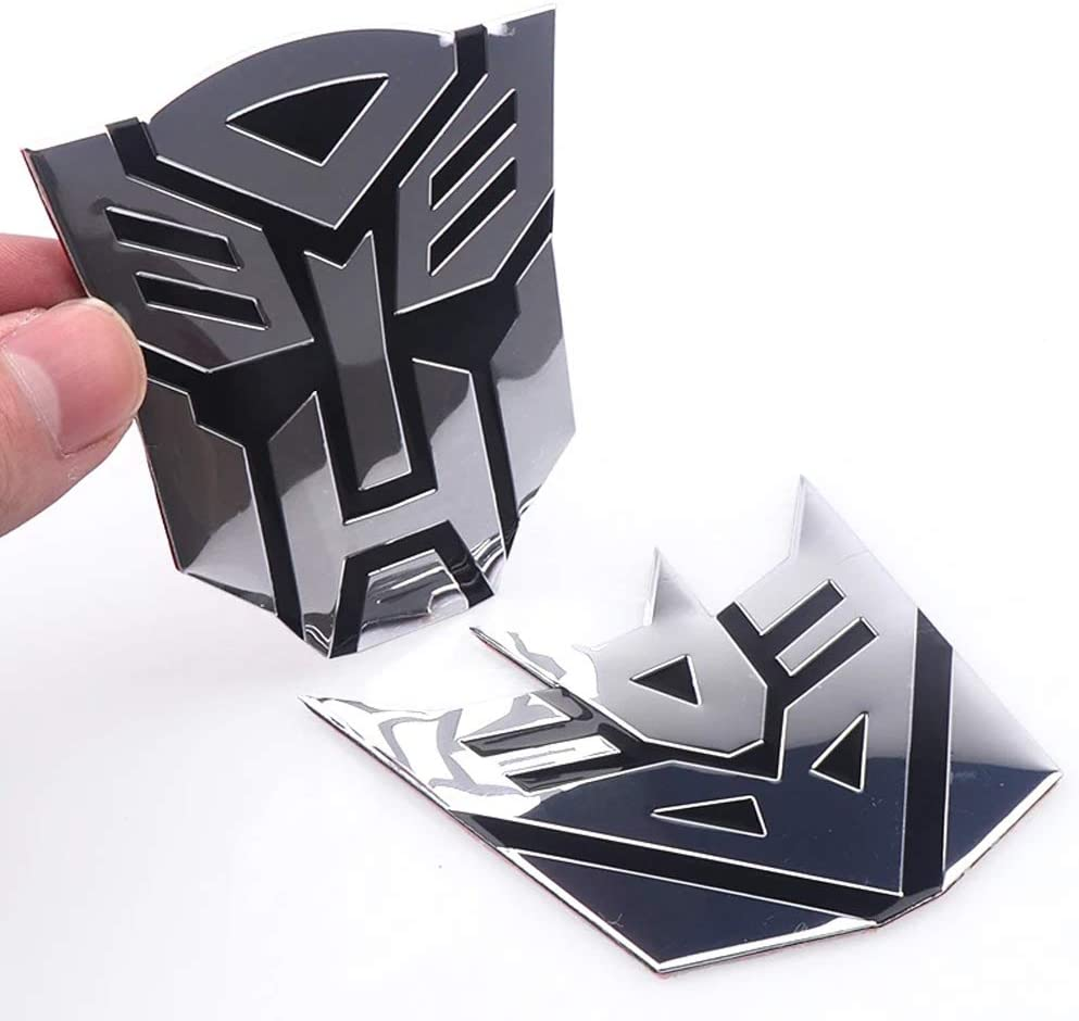 Aoderda Transformers 3D Style Pure Metal car Decorative Stickers Decal Ornament Badge 1 Pair 3x3