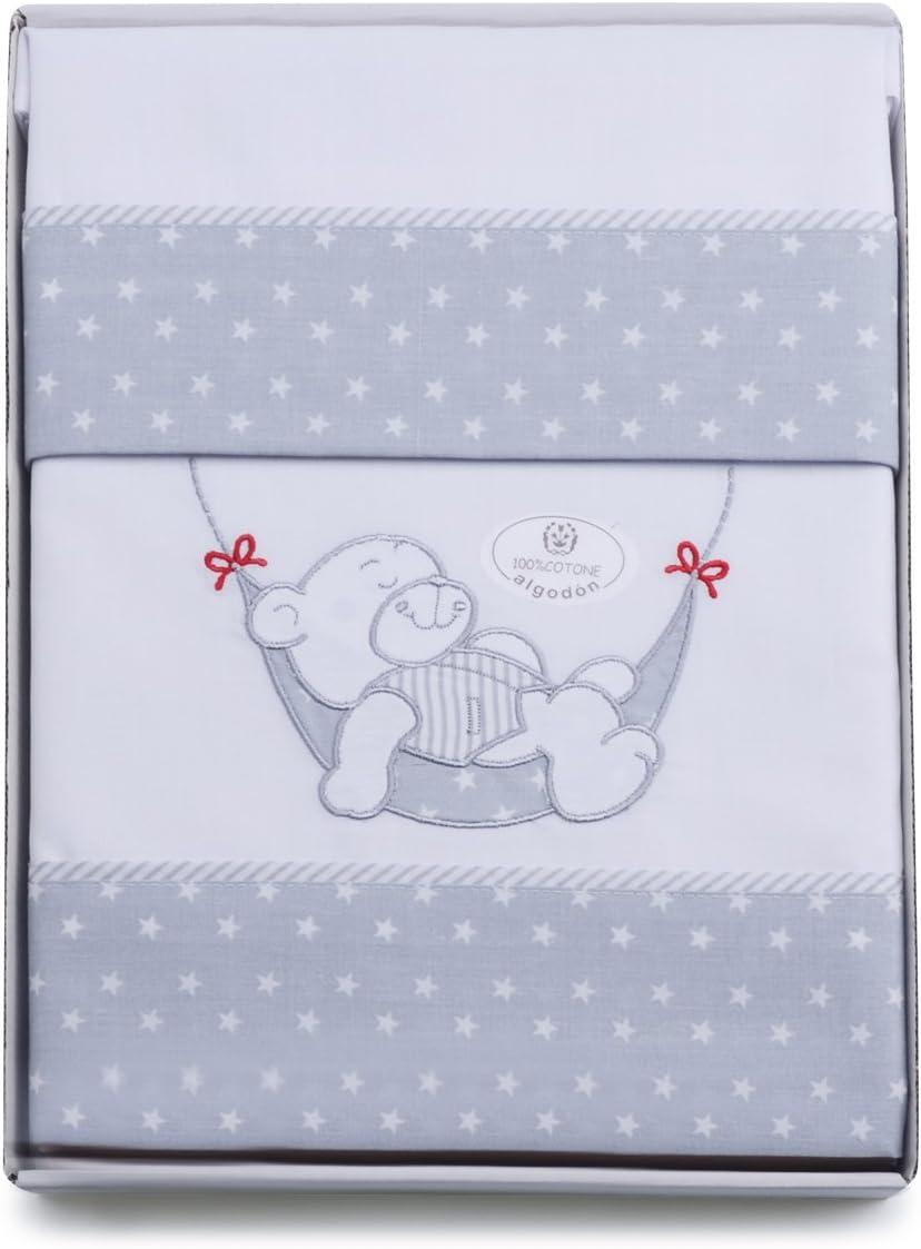 PEKITAS Juego De 3 Piezas De Sábanas Finas Para Minicuna 50X80 CM 100% Algodón HECHO EN PORTUGAL(funda almohada+sabana+bajera,osito blanco)