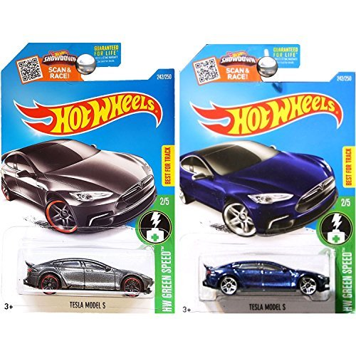 (Hot Wheels 2016 Blue and Dark Grey Tesla Model S 2-Car)