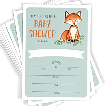 Amazoncom Woodland Fox Baby Shower Invitations 25 Invitations
