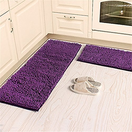 KOOCO Soft Microfiber Anti Slip Floor Mat Shag Chenille Rug Bathroom Rug Set Washable Kitchen Rug Non-Slip Absorbent Floor Runner Mats, Pink, 50Cmx80Cm 80Cmx120Cm