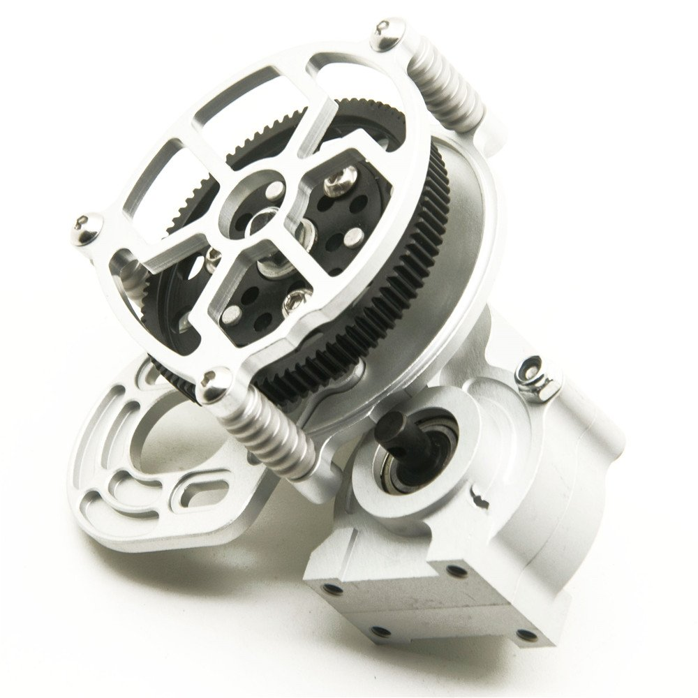 1/10 RC car Truck Full Metal Assembled Transmission Gearbox Tranny for RC Axial SCX10 D90(1PCS)Sliver Bohongkang