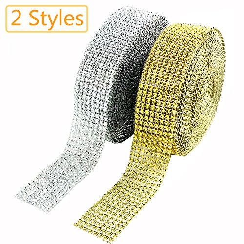 CEWOR 2 Rolls 8 Row 10 Yard/Roll Acrylic Rhinestone Diamond Net Ribbons Sparkling Mesh for Wedding Cakes DIY Decoration Arts and Crafts Projects (Silver and - The 8 Row