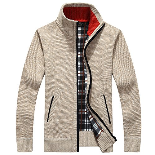(XinDao Men¡¯s Relax Classic Cardigan Cashmere Wool Blend Sweaters with Pockets Cream-Coloured US XL/Asia 3XL)