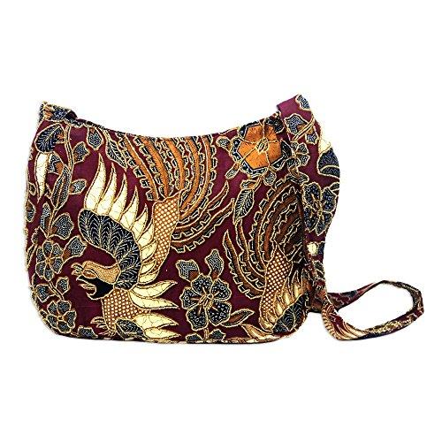- NOVICA Red Hand Beaded Cotton Batik Shoulder Bag, King's Bird'