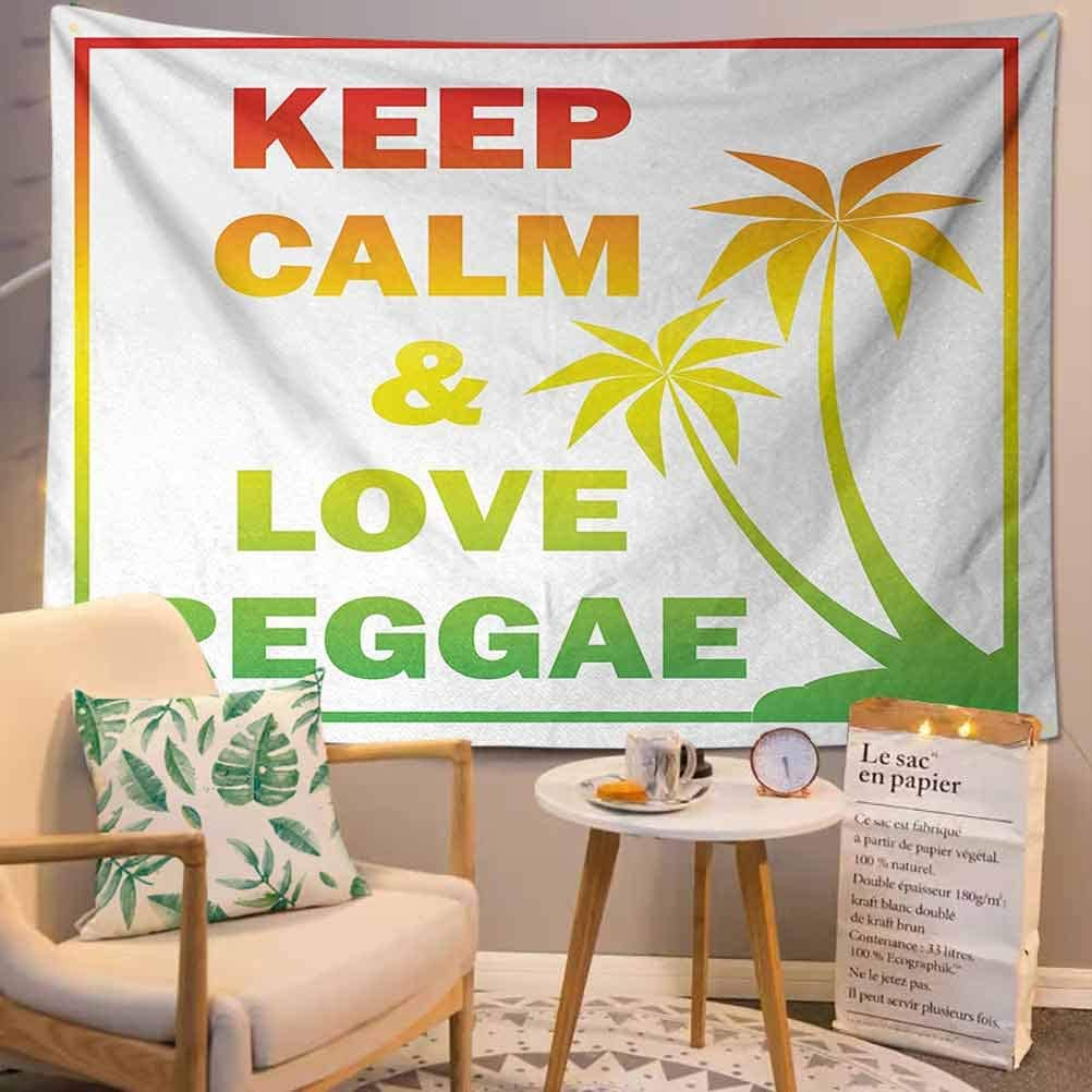 Rasta Tapestry Wall Hanging,?Keep Calm and Love Reggae Quote in Ombre Rainbow Colors Music Themed Ream Wall Decor Blanket for Bedroom Home Dorm,?Pale Green Red and Yellow