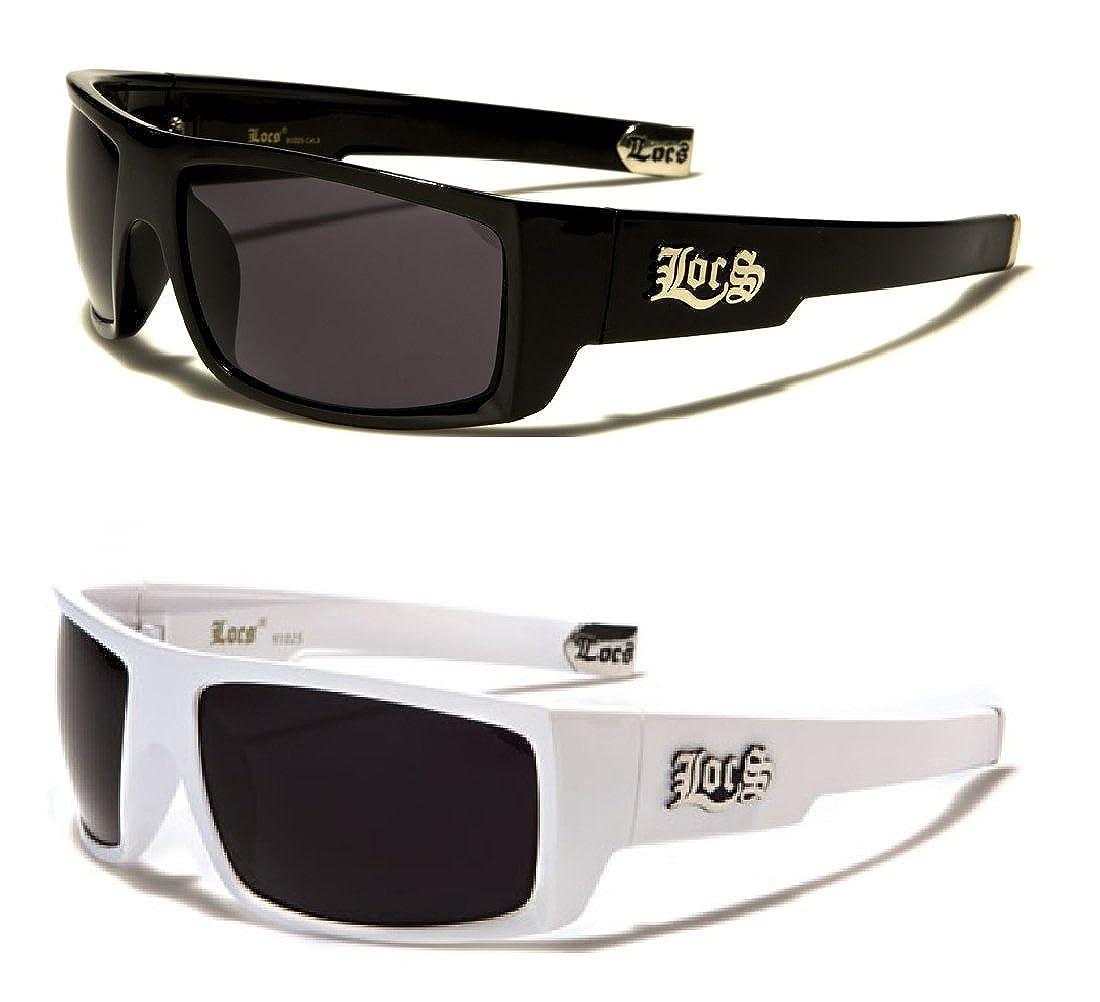 4a6eab7e66 Amazon.com  91025 Locs Sunglasses - 1 Black   1 White  Clothing