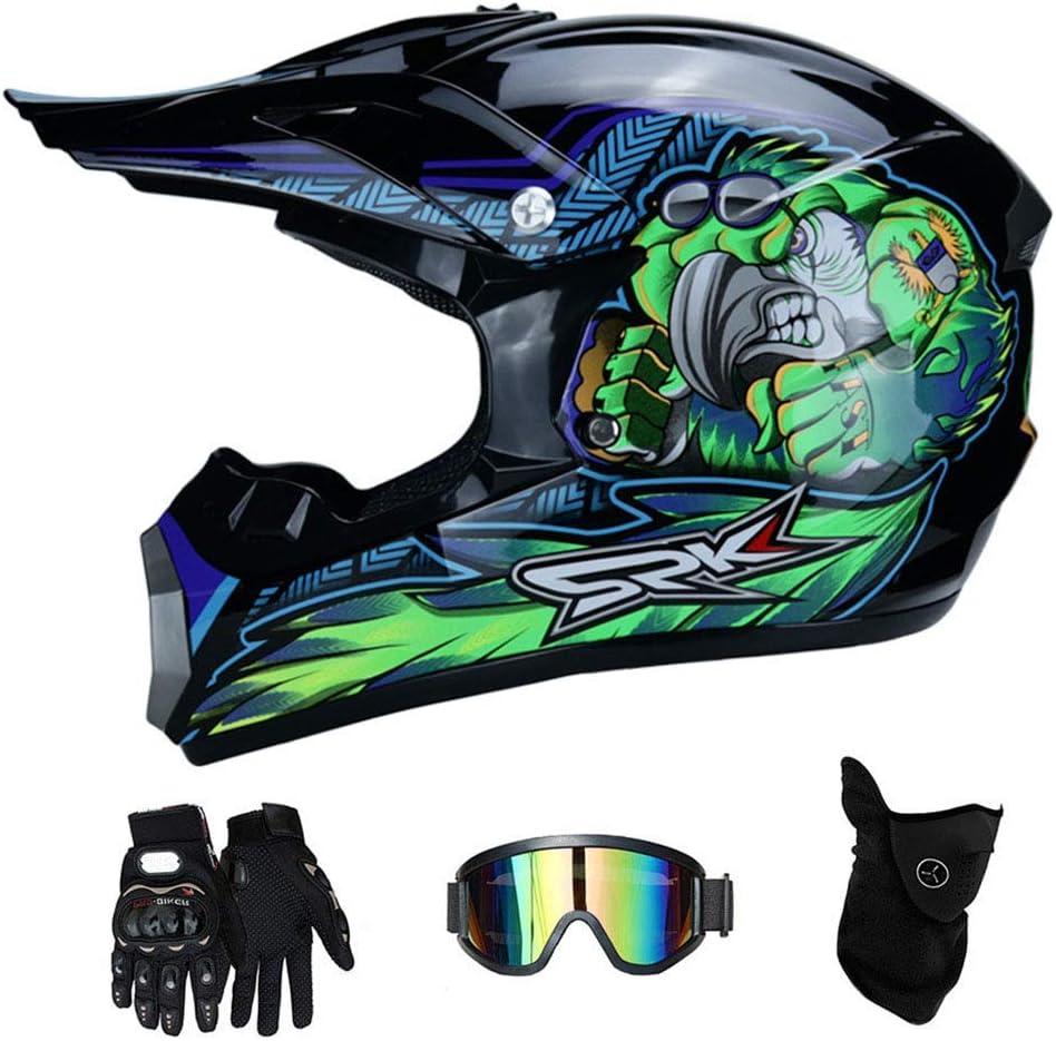 Offroad Bergab Dirt Bike MX ATV Motorrad Kart Fahren Helm f/ür Erwachsene M/änner Frauen Volles Gesicht Absturz Modular Helm OUTLL Motocross Helm Set mit Schutzbrille Handschuhe Maske