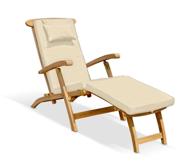 SERENITY TEAK STEAMER CHAIR WITH CUSHION GREEN Fully Assembled – Teak Steamer Chair Cushions