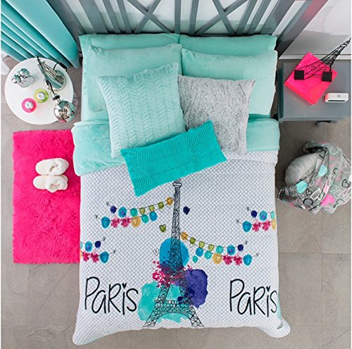 PARIS TEENS GIRLS CHIC COLLECTION BLANKET WITH SHERPA VERY SOFTY THICK AND WARM QUEEN - Chic Thick