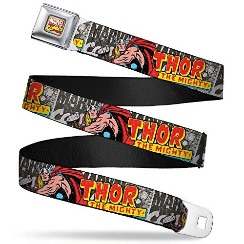 Buckle-Down Seatbelt Belt - THOR THE MIGHTY Action Pose/MARVEL COMICS Grays/Multi Color - 1.5