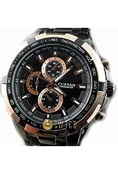 CURREN Stylish Quartz Movt Stainless Steel Watchband Mens Wrist Watch-8023Rosegold
