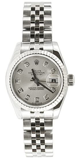 8c91ea96fd9 Image Unavailable. Image not available for. Color: Rolex Ladys New Style  Heavy Band Stainless Steel Datejust Model 179174 Jubilee Band 18K White Gold