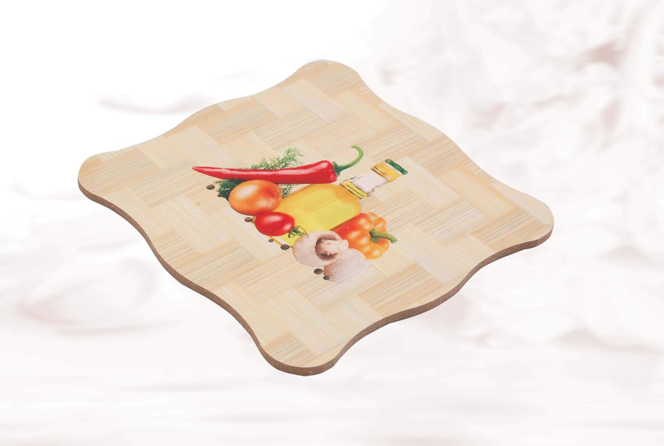 Krishna Handmade INDIAN Ethnic Wooden Dining Table HEAT PAD - 1 No/Home & Kitchen Product/Hot Tea Pot & Kettle Pad/Heat Insulation Kitchen Accessories/Wood Trivet 6'' Sq - 5mm thk/[Krish-Misc-A105]