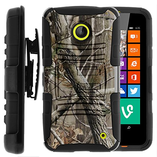 Nokia Lumia 635 Case, Nokia Lumia 630 Case, Two Layer Hybrid Armor Hard Cover with Built in Kickstand and Holster Belt Clip for Nokia Lumia 635, 630 (AT&T, Sprint, T Mobile, Cricket, Virgin Mobile, Boost Mobile, MetroPCS) from MINITURTLE | Includes Screen Protector - Nature's Camouflage (Nokia Lumia 635 T Mobile compare prices)