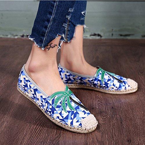 LIUXUEPIN Fischer Schuhe Frau Einzelne Schuhe Flache Stroh Schuhe Neu Sommer Atmungsaktiv Leinenschuhe Stroh Flache Faule Schuhe Blau ca97e3