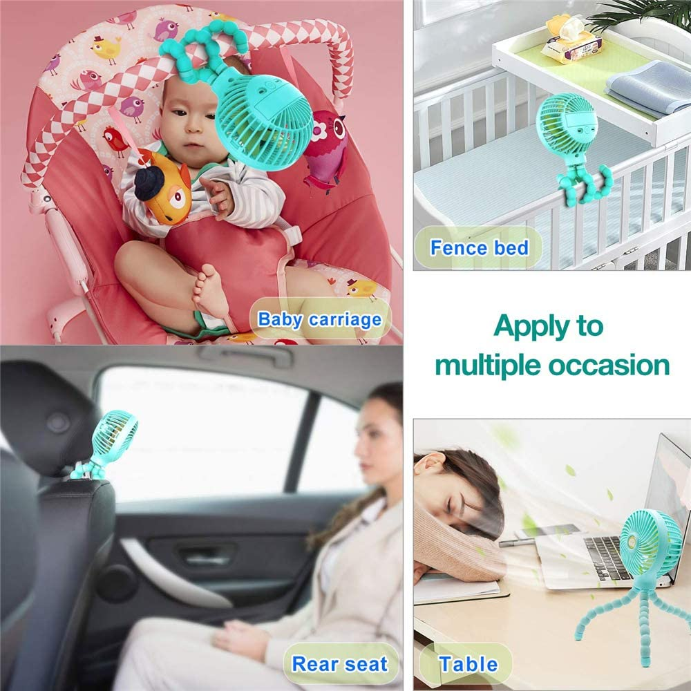 Octopus Handheld Fan Mini Personal Stroller Fan with Flexible Tripod Rechargeable Adjustable 3 Speeds for Baby Stroller