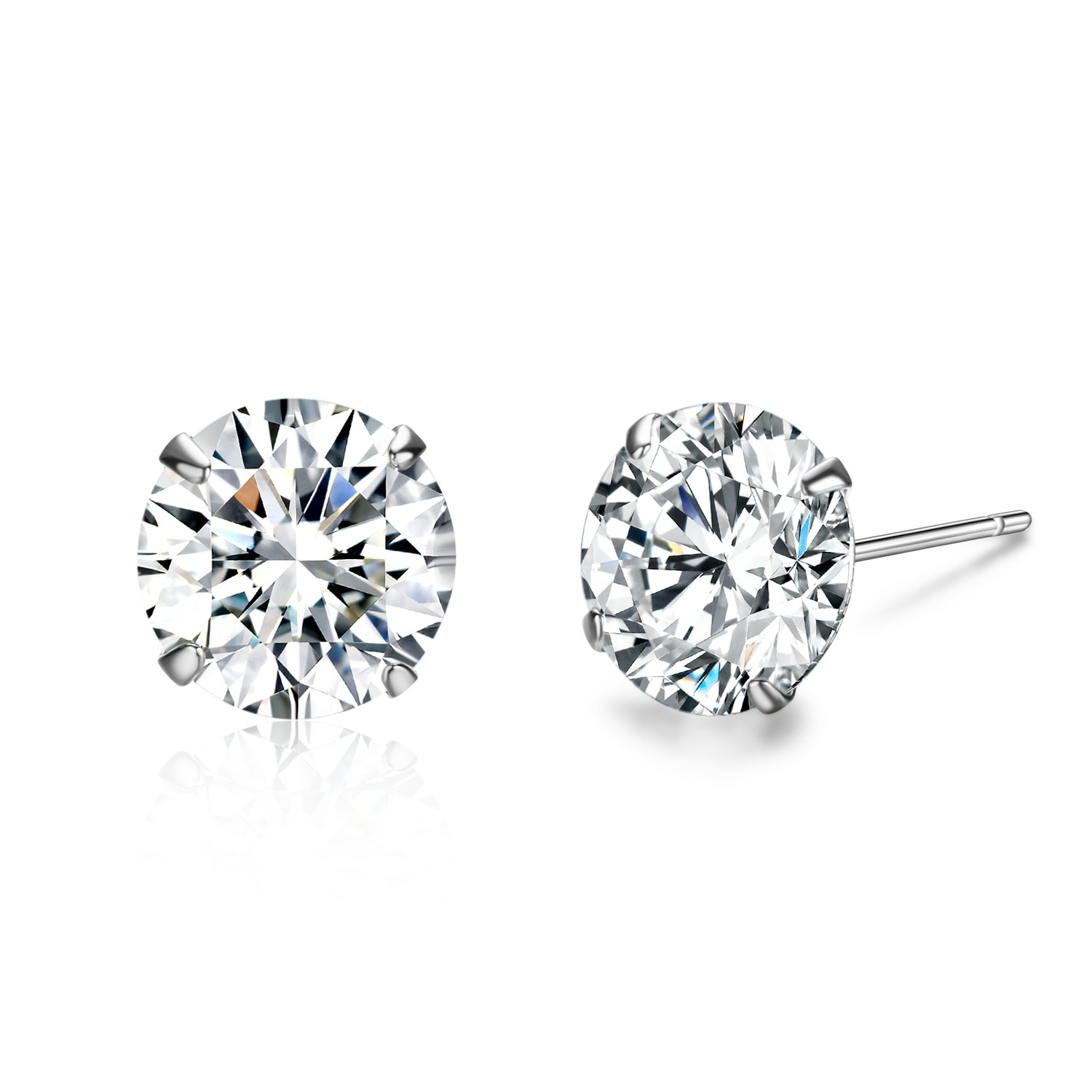 SBLING Platinum Plated Sterling Silver Stud Earrings Made with Swarovski Crystals(6mm;2.75cttw)