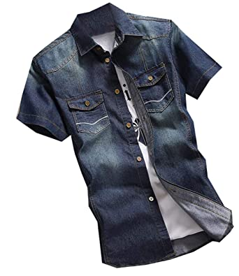 b0122c108ab Alion Men s Short Sleeve Casual Washed Button Down Denim Shirt at ...