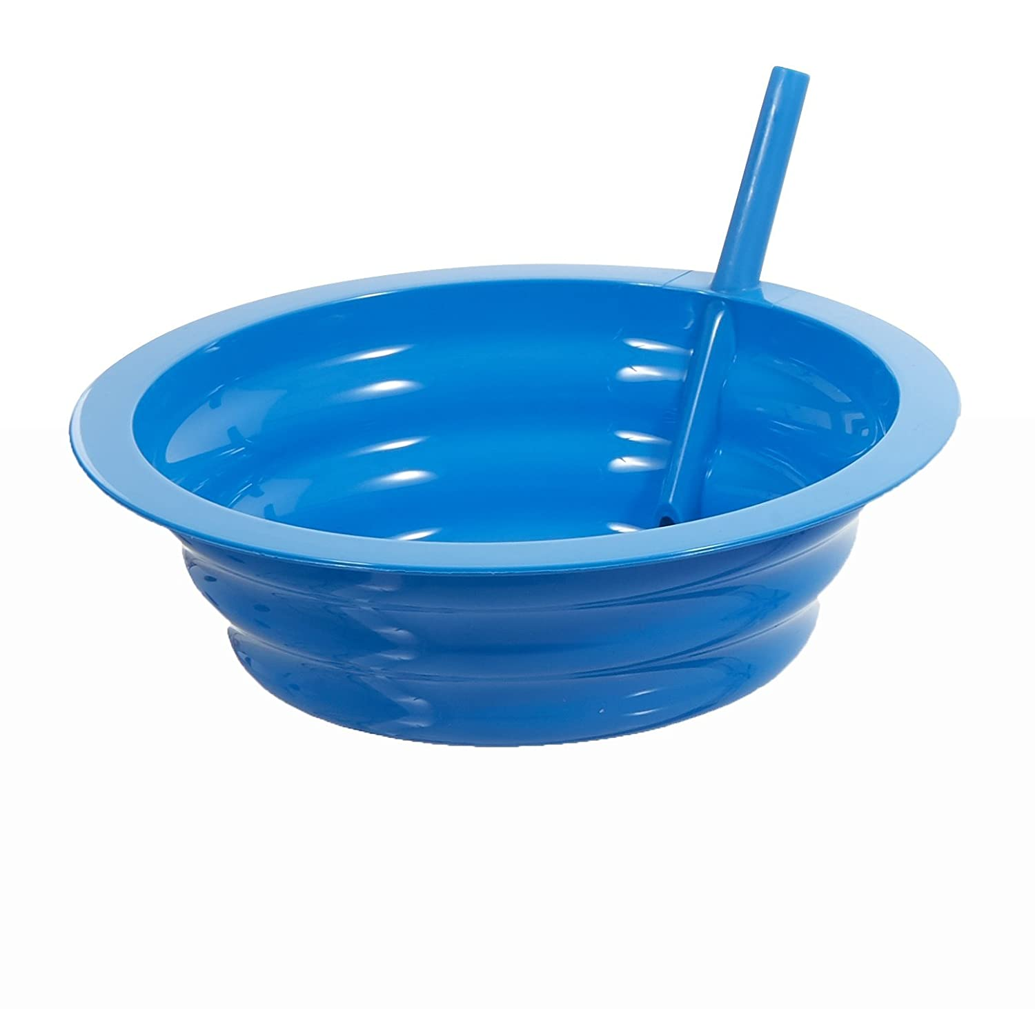Sip-A-Bowl Cereal Bowl with Built-in Straw - Colors Vary - Qty:1 (Green, Pink, or Blue) Arrow Home Products 26505