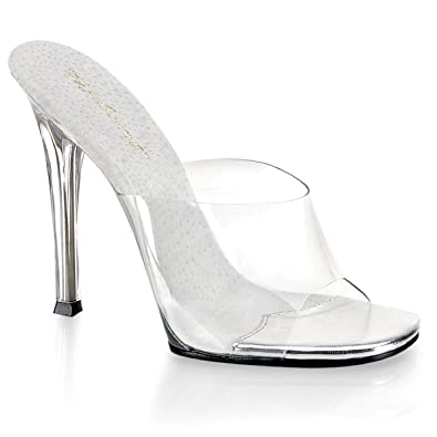 c4e1e7ce898 Womens 5 Inch Sexy High Heel Shoes Stiletto Heel Slip On Slides Clear  Sandals Size