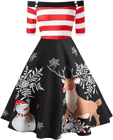 Femme Femmes Père Noël Visage Flocon De Neige Manches Longues Swing Évasé Mini Robe