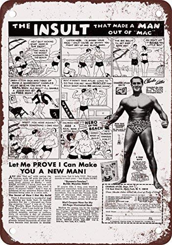 GMNJH 1972 Charles Atlas He-Man Vintage Look Reproduction Metal Tin Sign 8X12 ()