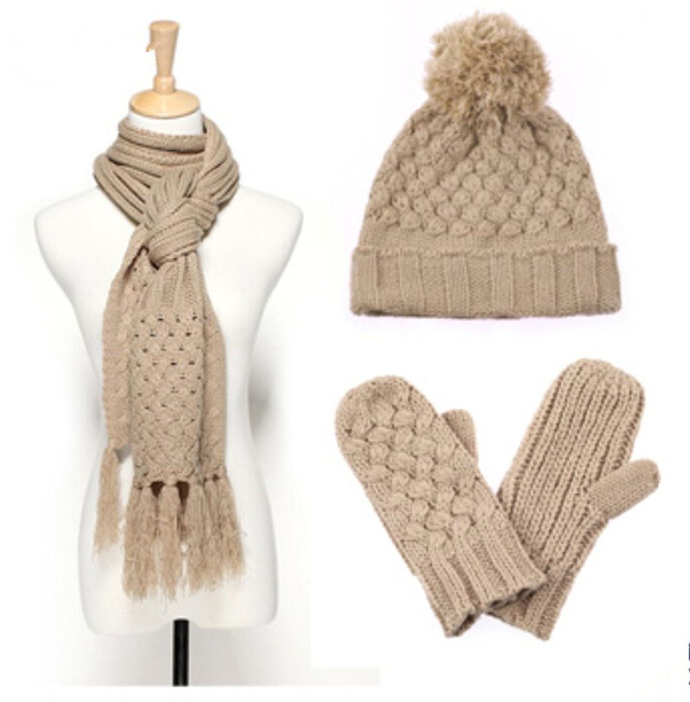Frauen Winter Plus Velvet Wollm¨¹tze / Schal / Handschuhe dreiteilige von Withered