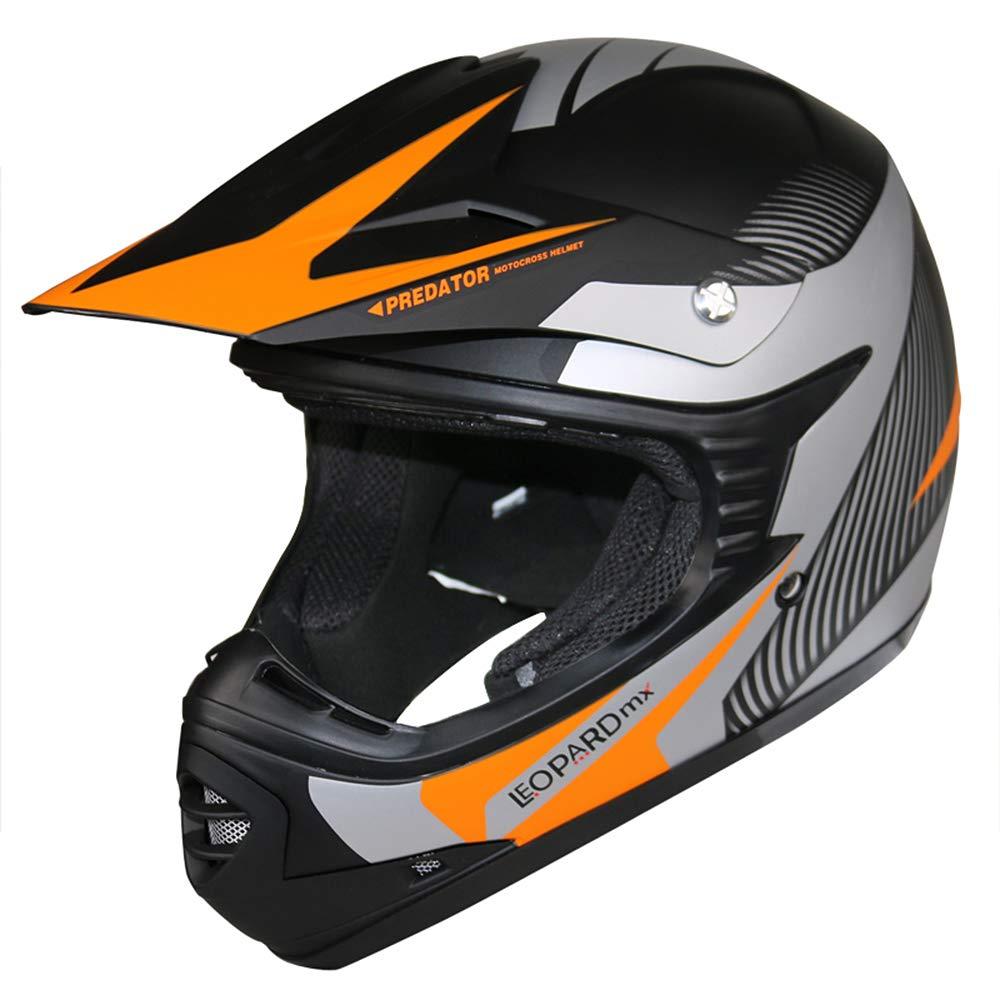 Children Quad Bike ATV Go Karting Helmet 53-54cm Leopard LEO-X19 PREDATOR Kids Motocross HELMET /& GLOVES /& GOGGLES Red L