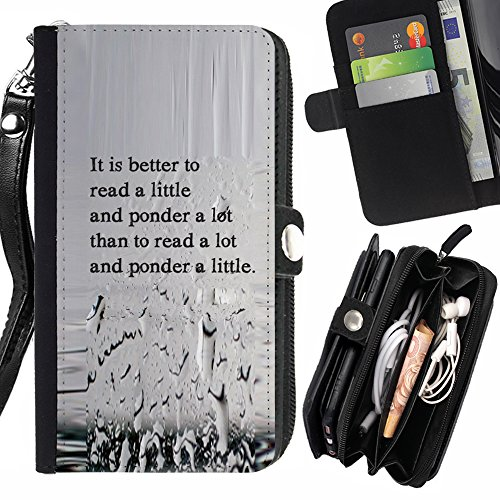 "STPlus ""It Is Better To Read A Little And Ponder A Lot"" English Quote Wallet Card Holder with Strap and Zipper Cover Case for Huawei P9 Lite"