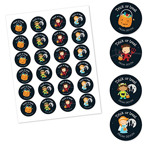 Big Dot of Happiness Custom Trick or Treat - Personalized Assorted Halloween Party Circle Sticker Pack - Set of 24