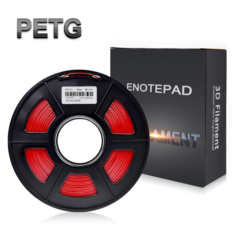 Enotepad 1.75mm PETG Filament D'impression 3D, Précision Dimensionnelle +/- 0.02 mm, 1Kg(2.2LBs)/Bobine, Matériaux D'impression 3D en Filament, Adapté à l'imprimante 3D/Stylo D'Impression (Transparent)