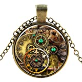 Antique clock cog style Classic Unisex Steampunk Necklaces in 27 Great Styles Unisex Gothic Goth Necklace Emo Vintage Cyber Men Women Jewellery Cosplay Skulls Cogs Designs Steampunk