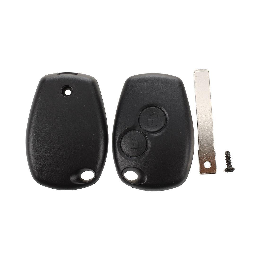 REFURBISHHOUSE 2 Bouton Coque Telecommande Plip Cle Boitier pour Renault Modus Clio 3 Twingo Noir