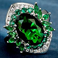 Siam panva Natural 4.5CT 925 Silver Emerald Engagement Ring Wedding Jewelry New Sz 6-10 (7)